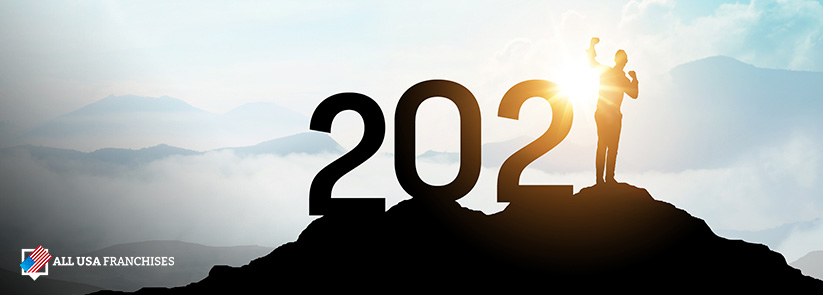 2021 Numbers on a Mountain With Sunrise as a Background and the Number 1 Is a Successful Franchise Owner
